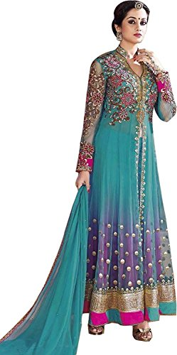 OSLC Women\'s Net Anarkali Embroidered Net Anarkali Salwar Suit Semi Stitched Salwar Suit with Dupatta