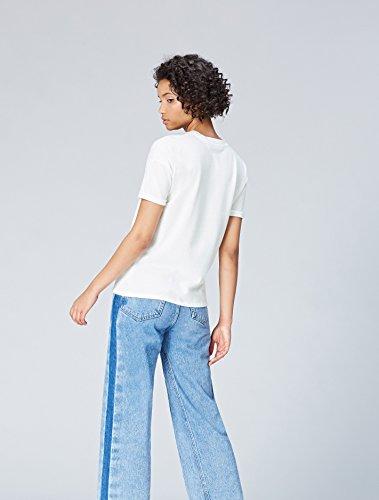 FIND T-Shirt Damen mit Slogan-Print und Rundem Ausschnitt Weiß (White)