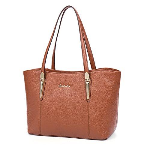 BOSTANTEN Handtaschen Damen Leder Umhängetasche Schultertasche Shopper Tasche Lila Braun