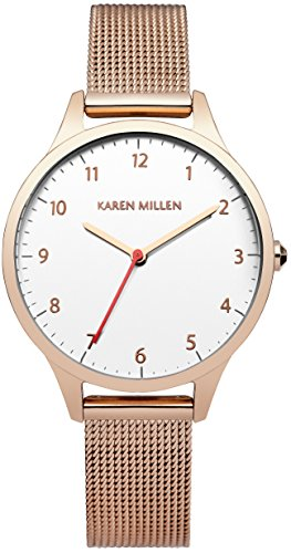 Karen Millen Women's Quartz Watch with White Dial Analogue Display and Gold Stainless Steel Bracelet KM118RGM