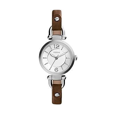 Fossil ES3861 - Reloj de cuarzo con correa de cuero para mujer, color plateado / marrón