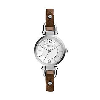 Fossil ES3861 – Reloj de cuarzo con correa de cuero para mujer, color plateado / marrón