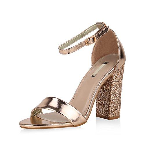 SCARPE VITA Damen Sandaletten High Heels Riemchensandaletten Glitzer Metallic 167612 Rose Gold 39