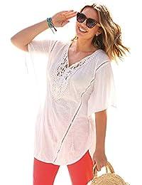 BELLÍSIMA Camiseta túnica guipur en el Pecho con cordón y borlas ...