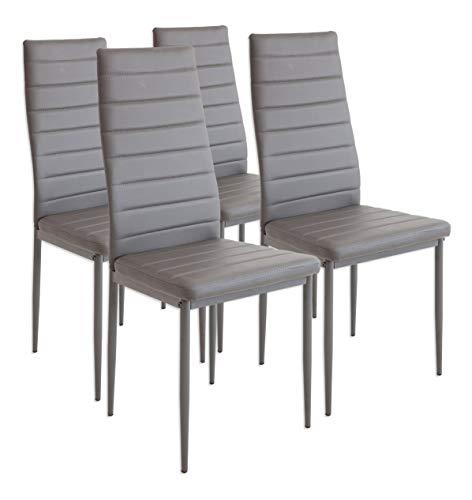 Albatros Milano - Set de 4 sillas de Comedor, Estructura metálica y Piel sintética, Estilo Italiano, Gris (2553)
