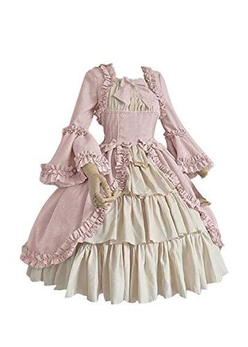Laile Damen Mittelalterliche Kleid Cosplay Halloween kostüm mit Flare Sleeve Viktorianischen Königin Kleider Hochzeit Karneval Fasching Partykleid Gothic Prinzessin Stufenrock