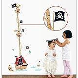 Kreative Ozean Piratenschiff Kind Wachstum Messung Höhe Wandaufkleber Baby Raumdekoration Höhe Wachstum Diagramm Stick Auf Wand