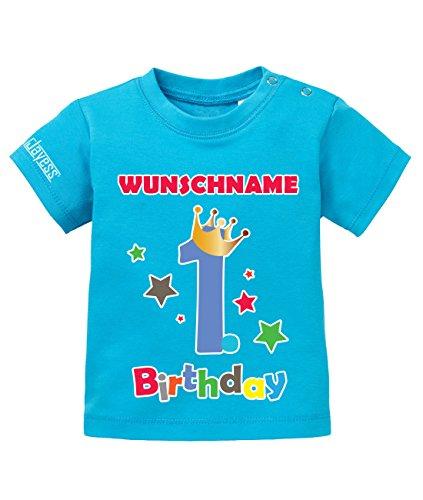 Jayess Geburtstag - First Birthday Shirt mit Personaliesierten Wunschnamen - Jungen - Baby T-Shirt in Blau by Gr. 80/86