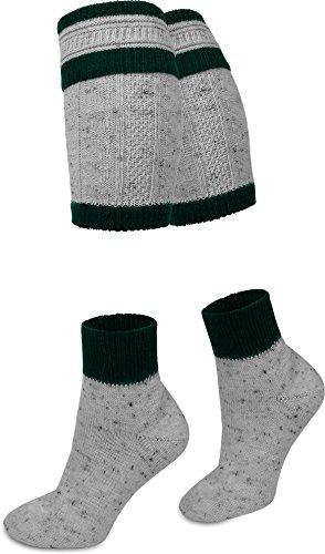 Woll Trachtensocken aus Tweed Garn mit Loferl Wadenwärmern Farbe Grau/Dunkelgrün Größe 43/46