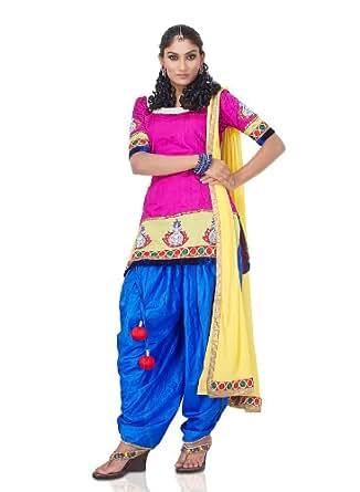 IndusDiva Women's Pure Raw Silk Pink Kurta And Dhoti Pants (ID81) 46 inch