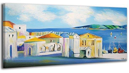100% HANDMADE + Certificato   115x50 cm   Quadro dipinto con colori acrilici Riva assolata   dipinti su tela con lettiga in legno   artigianali   Comodo fissaggio alla parete   Arte Contemporanea