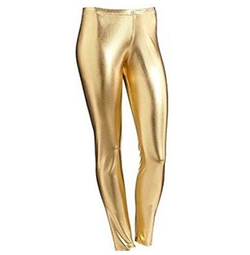Leggings im Metallic-/Nasslook, für 4-13 jährige Mädchen, glänzend, für Halloween / Kostümfeiern Gr. 5-6 Jahre, gold