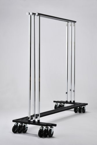 RACK52 Mobile Chrome Coat Stand. Office Coat Rack with wood Hangers