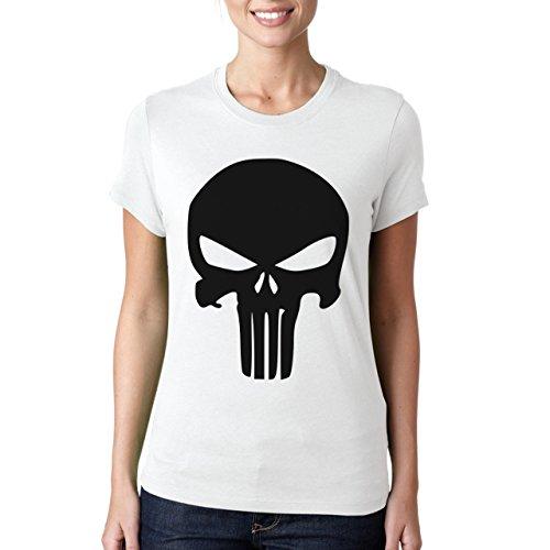 Colore: Nero con motivo Punisher Skull-Maglietta da donna bianco XXL