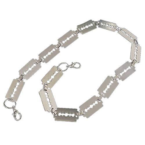 AMOYER Blade-Modell-Halskette Hip Hop-Legierungs-Anhänger Razor-Halsketten-Langkettige Silber Halsschmuck Geschenk