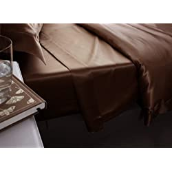 Jasmine seda 100% Mulberry 19MM Charmeuse de seda sábana bajera ajustable (Mocha)–Super King 180cm x 200cm + 26cm