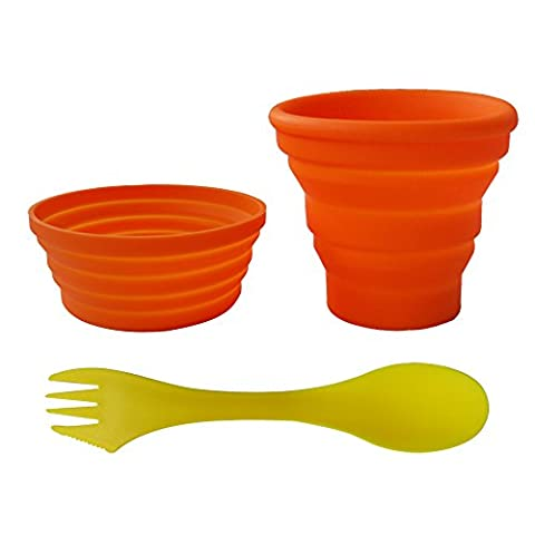 Ecoart Silicone Collapsible Cup and Bowl Set with Spork for Camping Hiking 100% Food-Grade FDA Approved BPA