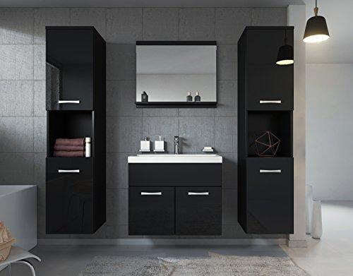 Badezimmer Badmöbel Set Montreal XL 60 cm Waschbecken Schwarz Hochglanz Fronten - Unterschrank Hochschrank Waschtisch Möbel