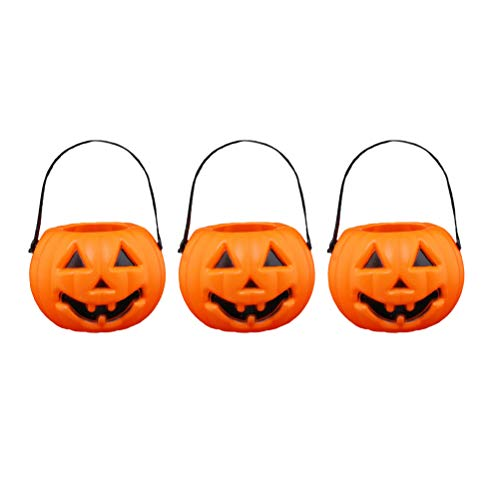 Amosfun 3 stücke Halloween Tragbare Kürbislaternen Halloween Barrel Candy Jar LED Laterne Licht Requisiten Party Supplies Kinder Freunde (Orange Barrel Kostüm)