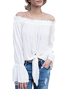 DianShao Mujeres Hombro Cuello Barco Volantes Blusa Top Tee T Shirt