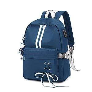FANDARE Luminoso Mochila Mochilas Tipo Casual Bolsas Escolares Niña Bolsa de Viaje Bolsos de Mujer Adolescente Backpack School Bag Outdoor Viaje Infantiles Daypack Poliéster Azul