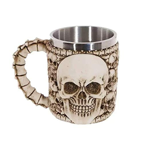 Vogue Fang doppelwandiger Edelstahl 3D Schädel Tasse Kaffee Schädel Ritter personalisierte Trinkbecher (Vogue-kaffee-tasse)