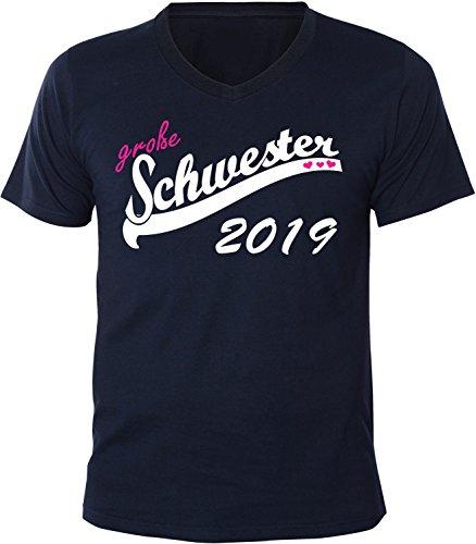 Mister Merchandise Herren Men V-Ausschnitt T-Shirt Große Schwester 2019 Tee Shirt Neck bedruckt Navy