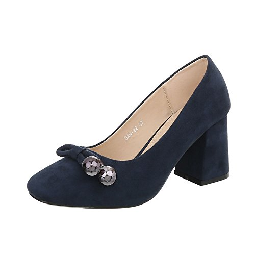 Ital-Design High Heel Pumps Damen-Schuhe High Heel Pumps Pump High Heels Pumps Dunkelblau, Gr 40, Gaq-22-