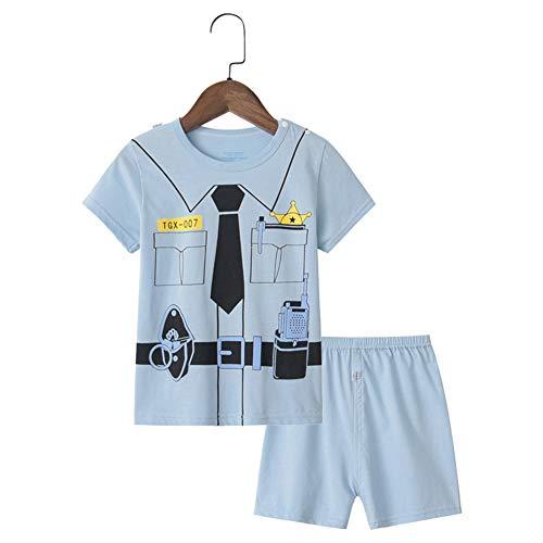 Kinder Zweiteiliger Schlafanzug Kurze Ärmel, Morbuy Mädchen Junge Karikatur Drucken Zweiteiliger Schlafanzug Baumwolle Kinder Kurze Ärmel Kurze Hose Pyjama (120,Polizei)