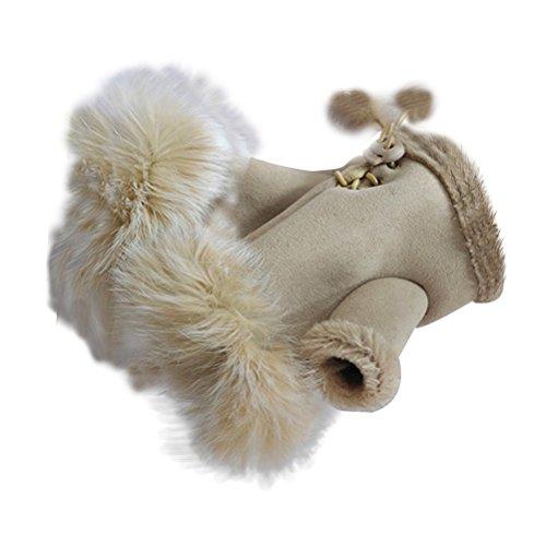 Tinksky Guantes de mujer medio dedo Guantes de invierno cálido cálido Mitones de lana suave Guantes de muñeca corto sin dedos Guante de mano Disfraz de regalo de Navidad 1 par (color crema)