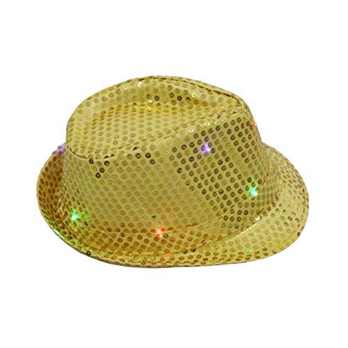 Toyvian LED Jazz-Hut blinkende Fedora-Hüte Tanzen Leistung Melone Karneval Kostüm Gold