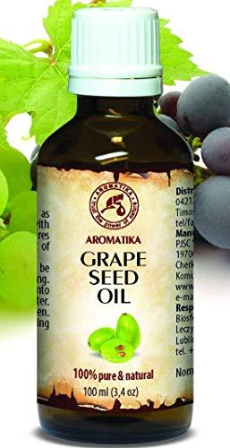 Aceite de Semillas de Uva 100ml - Refinado - Vitis Vinifera - Italia - 100% Puro y Natural - Cuidado Intensivo para la Piel del Rostro - Cabello - Masaje - Cuidado Corporal