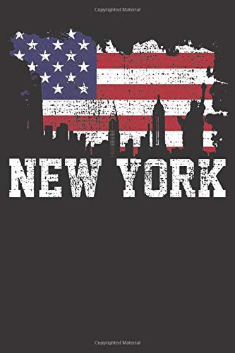 Notebook: Vintage New York City NYC Skyline USA Flag America Gift Dot Grid Dotted 6x9 120 Pages New York, New York City Flag