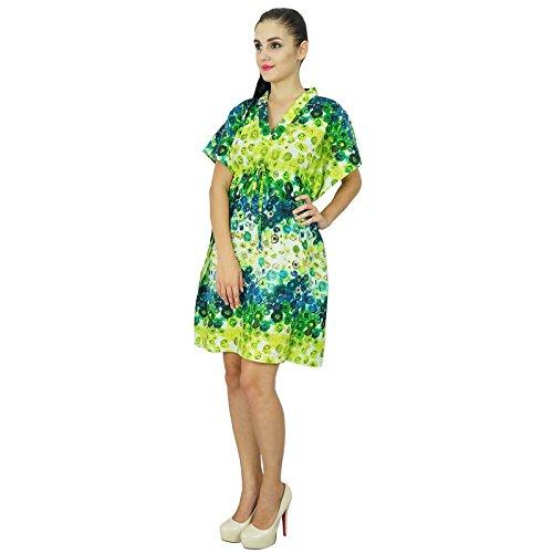 ... Bimba femmes Bohême coton Kaftan Robe imprimée court indienne Caftan  Taille Plus vêtements de plage Couleur dc28c6c8a99