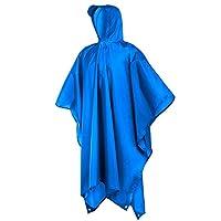 meowtastic Rain Poncho Adult Waterproof for Men Women,3 in 1 Hooded Raincoat,Lightweight Reusable Unisex Rain Ponchos,Ground Sheet,Tarp for Camping Hiking Cycling (Blue)