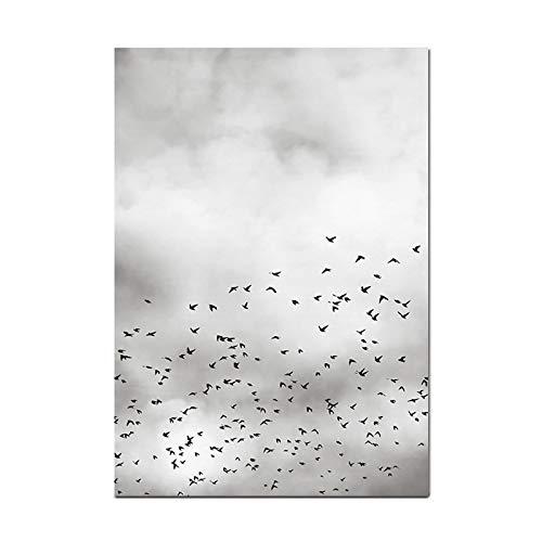 jzxjzx Fliegender Vogel Segeln kreative Landschaft schwarz weiß Kunst Wohnzimmer Schlafzimmer Deko Malerei Kern, 3, 60 * 80cm -