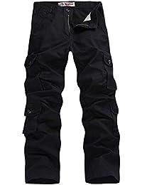 0e27ed99d751 Feoya Herren Kampfhose Wasserwäsche Cargohose Mehrere Tasche Hosen aus  Baumwolle Freizeithose Loose-Fit Outdoor Arbeitshosen in…