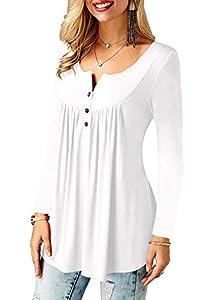Beluring Women's Long Sleeve Tunic Top for Leggings Flared Blouse Shirt Plus Size White XXL