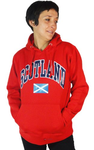 Womens Scotland Saltire Logo Hooded Long Sleeve Top Casual Sweatshirt Non Zip Colour Option red