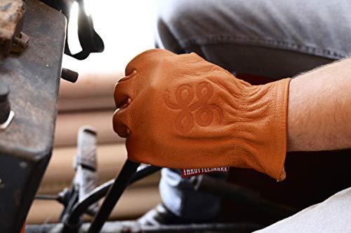 THROTTLESNAKE Guantes de Moto Vintage en Cuero de Búfalo Marrón Cognac con Sello de Serpiente ROAD ROAMER † Brown Old School Motorcycle Buffalo Leather Gloves with Badass Snake Embossi (M, Cognac)