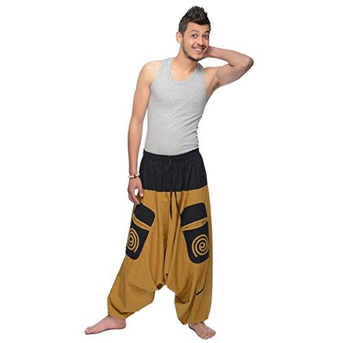 Haremshose Pumphose Aladinhose Pluderhose Yoga Goa Sarouel Baggy Aladin Freizeithose Simandra Herren (Braun, S/M) - Bild 3