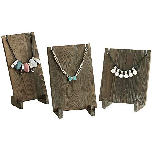 Vintage Style Holz Plank Retail Boutique Halskette Schmuck Display Steht, Set von 3 Medium Dunkelbraun Perlen-rack