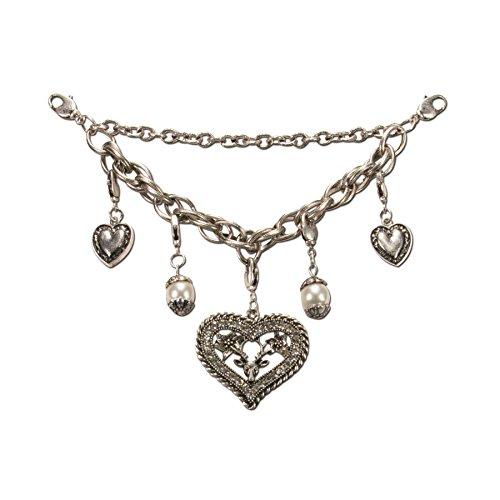 Trachtenschmuck * Damen Charivari Strass-Herz mit Hirsch * Trachtenkette mit Trachten-Herzen und Perlen * Dirndlkette Oktoberfest Dirndl-Schmuck (Antik-Silber-Farben)