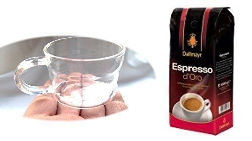 Dallmayr Crema d´Oro Kaffee ganze Bohnen + Design Glastasse, Kaffeetasse, Kaffee, Tasse, Glas, Espresso 100ml, 4er Pack im Geschenk Karton