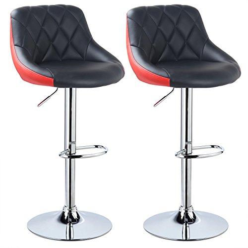 Woltu bh30szr-2 sgabelli da bar sedia cucina con schienale poggiapiedi similpelle cromato altezza regolabile girevole moderni classici colorato nero+rosso coppia set 2