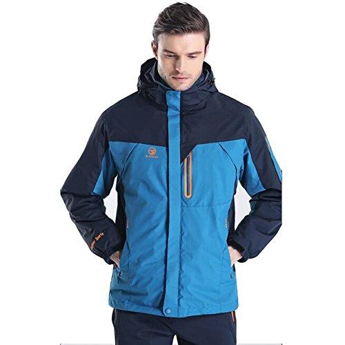 3 in 1 Invernale Giacca Uomo Impermeabile Vento Windstopper Caldo Felpa - Outdoor Sportiva da Sci Snowboard Escursioni Caccia (blu, 2XL (175CM 80KG))