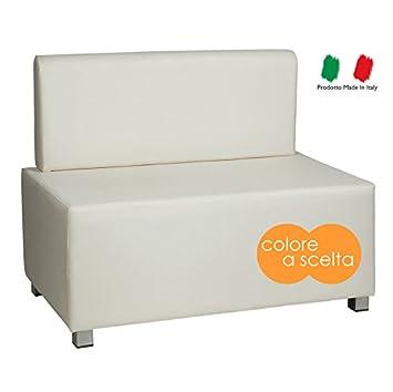 Divano divanetto due posti moderno in ecopelle bianco bianca ...