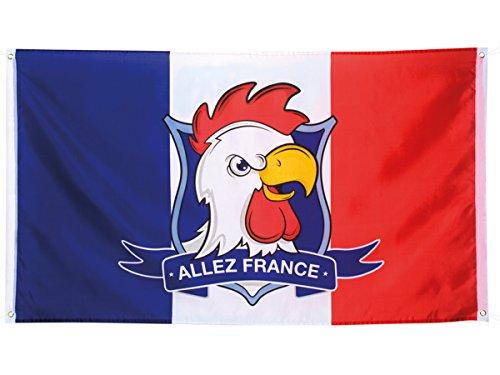 Flagge blau weiß rot 150x 90cm mit Kopf von Hahn und die Anmeldung gehen Sie Frankreich (Alsino 62035) für Ertragen Französisch Weltmeisterschaft, Themenpartys Zubehör de Dekoration Allez die Blauen -
