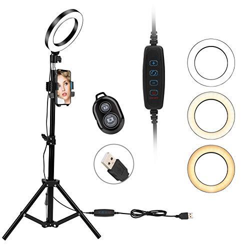 """LED Ringlicht, 6\"""" Ring Light 3 Lichtfarben und 10 Helligkeitsstufen, Verstellbarer Stativstab, Handyhalterung Bluetooth-Fernbedienung Beleuchtungsset für Make-up, Fotografie, Live-Stream, YouTube"""