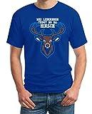 Mei Lederhosn Trogt No Da Hirsch - Witziges Oktoberfest Shirt T-Shirt Medium Blau